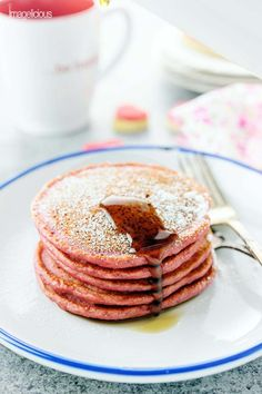 These pink Cinnamon Beet Pancakes made with Greek Yogurt are the most delicious Valentine's Day treat! Via @imagelicious