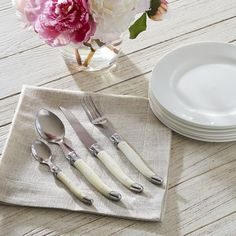 Alsace 24-Piece Laguiole Cutlery Set | This elegant, French-inspired flatware set features creative, stylish faux ivory handles. Comes with six forks, six knives, six spoons, and six teaspoons.