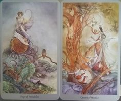 Page of Pentacles and Queen of Wands: Guidance for the week of November 14 through November 20, 2016 ~ Cards from Shadowscapes Tarot by Stephanie Pui-Mun Law