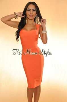 Tangerine Knee Length COUTURE Bandage Dress 54c2d9a37cb2