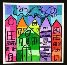 Paintbrush Rocket Abstract Landscapes Kids art