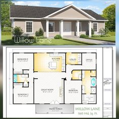 The Willow Lane House Plan, Hip Roof Option Pole Barn House Plans, House Plans One Story, New House Plans, Dream House Plans, House Floor Plans, Dream Houses, Family Home Plans, Retirement House Plans, Custom Home Plans