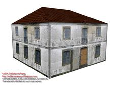 Second paper model of a run-down country house. For the moment, this is made out of 3 models, each of them designed with a different level of complexity as per the number of pieces involved in the assembly of the papermodel