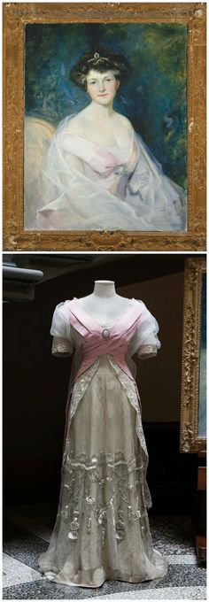 """Above: Portrait of Hortense Mitchell Acton. Signed """"J. Rolshoven."""" Julius Rolshoven, oil on canvas. Circa 1907. Below: Pink and cream silk evening dress with embroidered metallic net overlay and train. Callot Soeurs, Paris. Circa 1907. Worn by Hortense Acton for the accompanying portrait. © New York University, Acton Collection, Villa La Pietra, Florence."""