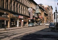 between O'Connor and Metcalfe Sts in 1959 shortly before the streetcar tracks were removed Vintage Cars, Vintage Photos, Ottawa, Ontario, Beer Logos, Cheap Lipstick, Street View, Heartstrings, History