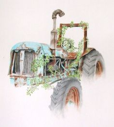 Tractor in coloured pencil