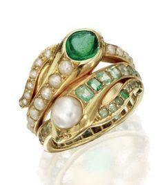 18 Karat Gold, Emerald and Pearl Snake Ring, Last Quarter 19th Century