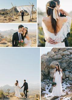 Beautiful winter bohemian wedding in Pioneertown, California