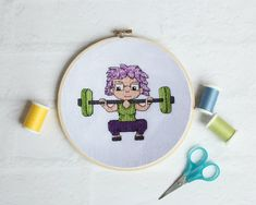 Squat Girl Beginner Cross Stitch Pattern Fitness Girl Series - are you into working out and powerlifting? Then you will love my squat girl pattern. A great way to showcase your skills. Modern Cross Stitch Patterns, Cross Stitch Designs, Everything Cross Stitch, Fabric Book Covers, Powerlifting, Weightlifting, Creative Arts And Crafts, Xmas Cross Stitch, Easter Cross