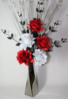 Artificial silk flower arrangement in red poppies in black modern artificial silk flower arrangement red black white flowers in silver vase mightylinksfo
