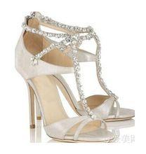 2015 date sexy à bout ouvert cristal sandales vente chaude t-bracelet femme sandales à talons hauts de mariage de concepteur talons(China (Mainland))