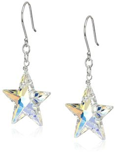 Sterling Silver with Swarovski Elements Crystal Aurora Borealis Star Drop Earrings * Find out more about the great product at the image link.