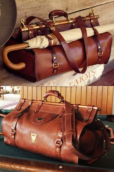 3 Leather Grip Bag – Vintage Brown The beauty is in the details. Solid copper tubes and solid brass fixtures set it apart from any piece of luggage you'll ever see. Handcrafted in Lynnville, TN USA by Col. 40s Mode, Retro Mode, My Bags, Purses And Bags, Bags Travel, Travel Usa, Travel Backpack, Leather Luggage, Leather Bags