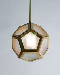 The Pentagon Lantern x x Brass, hand binded leather, brass and industrial Holophane glass Pentagon, Lanterns, Industrial, Brass, Ceiling Lights, Pendant, Leather, Collection, Home Decor