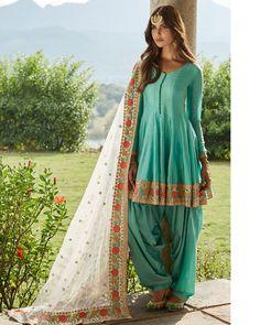 Lashkara Pawna Turquoise Floral Peplum Punjabi Suit