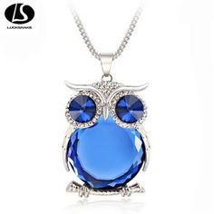 New Design Owl Necklaces&Pendants Vintage Gold plated Crystal Gem Long Chain Fashion Necklace Women Gift