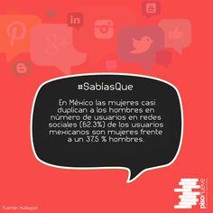 En México las mujeres casi duplican a los hombres en número de usuarios en redes sociales (62.3%)... #piso9digital #sabíasque #México #redes #sociales