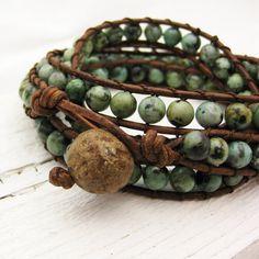 Afrikaanse Turquoise leder 4 x Wrap armband / bohemian door byjodi
