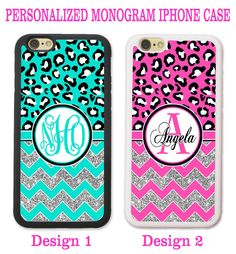 TEAL HOT PINK LEOPARD CHEETAH CHEVRON MONOGRAM CASE FOR IPHONE X 8+ 7 6S 6 SE 5S #UnbrandedGeneric