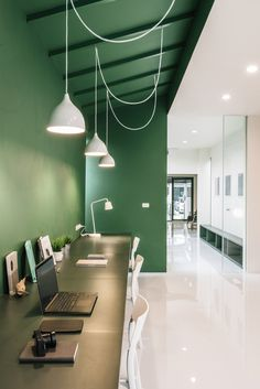 Gallery of Green 26 / Anonym - 8 Again – really like the bright feature wall that offsets the white. And the use of white light to Loft Office, Cool Office Space, Office Lounge, Office Walls, Ikea Office, Office Cubicle, Office Spaces, Work Spaces, Office Art
