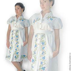 """Купить платье """"Безмятежность"""" - белый, орнамент, платье, белое платье, короткое платье, платье с вышивкой"""