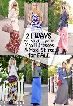 21 ways to style your maxi dresses & maxi skirts for fall - i've been looking for ideas like this for over a yearrr!