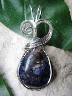 Tiffany Stone Silver Wire Wrapped Pendant by SISDesigns on Etsy, $76.00