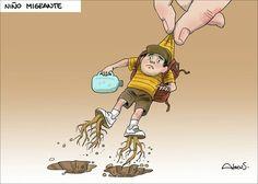 Caricatura Alecus, Niño migrante