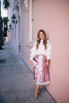 Pink Sequin Skirt wi