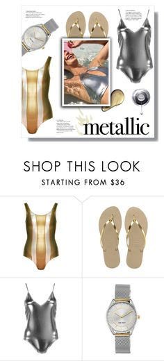 """Sem título #734"" by tabata-sachetti ❤ liked on Polyvore featuring Cynthia Rowley, Havaianas, Boohoo and Nine West"