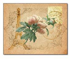 Paris Floral Print: Pink Peonies, Eiffel Tower, French Postage - 10x8 Giclee - Old Paris Peonies #Handmade #WatercolorArt