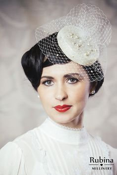 Bridal Pillbox Hat Fascinator With Birdcage Veil