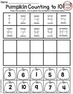 FREE Pumpkin Numbers Worksheet - Fall Printables for Kindergarten Math - Pre-K - Mathe Ideen 2020 Fall Preschool, Preschool Math, Kindergarten Worksheets, Kindergarten Classroom, Teaching Math, Math Activities, Kindergarten Crafts, Numbers Kindergarten, Thanksgiving Crafts For Kindergarten