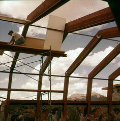 Apprentices building the pavilion for Frank Lloyd Wright's Taliesin West, 1952.