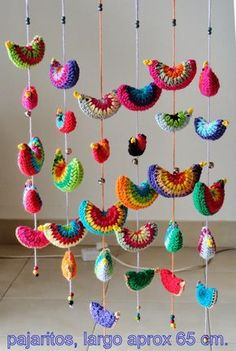 No pattern, but inspiration. Crochet circle of choice. Fold over and Crochet closure. Crochet or embroider on beak. Run crochet chain or other string through birds and bells to create hanging. Crochet Birds, Crochet Mandala, Crochet Art, Crochet Home, Love Crochet, Crochet Motif, Crochet Crafts, Crochet Flowers, Crochet Projects