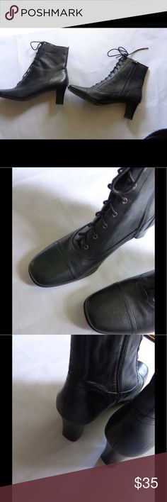 """Etienne Aigner Black Leather Granny Boots Size 8 Etienne Aigner Black Leather Granny Boots Size 8.  Excellent condition.  They lace up and zip on the side.  2"""" heel. Etienne Aigner Shoes Heeled Boots"""