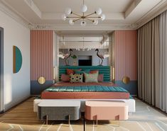 Home Interior Styles 51 Pink Bedrooms With Images, Tips And Accessories To Help You Decorate Yours Pink Headboard, Pink Bedding, Home Interior, Decor Interior Design, Furniture Design, Black Furniture, Bed Furniture, Bed Design, House Design