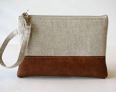 Linen Wristlet Wallet, iPhone wallet, Vegan Leather Clutch Purse, Cellphone Wristlet, Boho Zipper Pouch, Boho Clutch,Gift For Her
