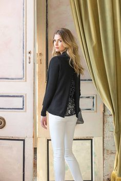 NEW! Lilla P Mixed Lace Cardigan