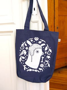 Denim blue LLAMA Tote bag  by danadamki  screenprint by danadamki, €14.00