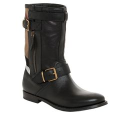 Add some distinct design to a classic look with these black leather moto boots by Burberry, with a unique tan checkered detail for a diverse style. Goldtone buckled straps adorn these mid-calf almond toe boots for a little extra fashion.