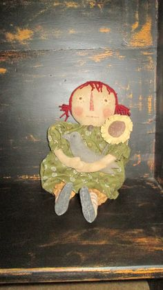 Prim Raggedy with Sunflower and Crow by Bettesbabies on Etsy, $48.00