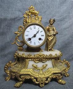 Antique 19th Century Gilt French Art Nouveau Figural Lady Mantle Clock NR yqz