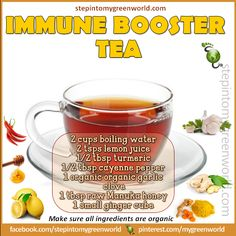 ☛ An immune booster tea for YOU.  The flu is still around....  FOR A NATURAL FLU SHOT RECIPE:  http://www.stepintomygreenworld.com/greenliving/greenfoods/a-natural-flu-shot/  ✒ Share | Like | Re-pin |
