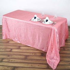 """90x156"""" Rose Quartz Crinkle Crushed Taffeta Rectangular Tablecloth Pink Wedding Decorations, Table Overlays, Used Chairs, Unicorn Party Supplies, Chair Sashes, Floral Tablecloth, Banquet Tables, Table Covers, Crinkles"""