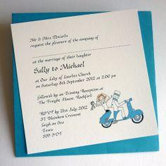 Old folk mobility scooter handmade wedding anniversary vespa wedding invitation flat stopboris Choice Image