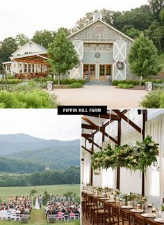 Pippin Hill Farm in Charlottesville, Virginia - such a sweet barn for a wedding. Love the giant wreathes on the barn doors!