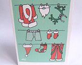Original, funny and unique hand drawn Christmas card with Santa Claus' Clothesline, £2.5