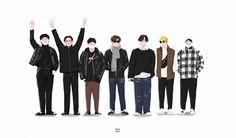 Got7 Fanart, Got7 Mark Tuan, Jackson Wang, Line Art, Chibi, Yugyeom, Draw, Kpop, Stickers