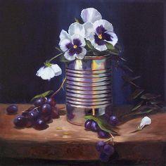 Donna Munsch Fine Art: Original Oil Painting Tin Pansies